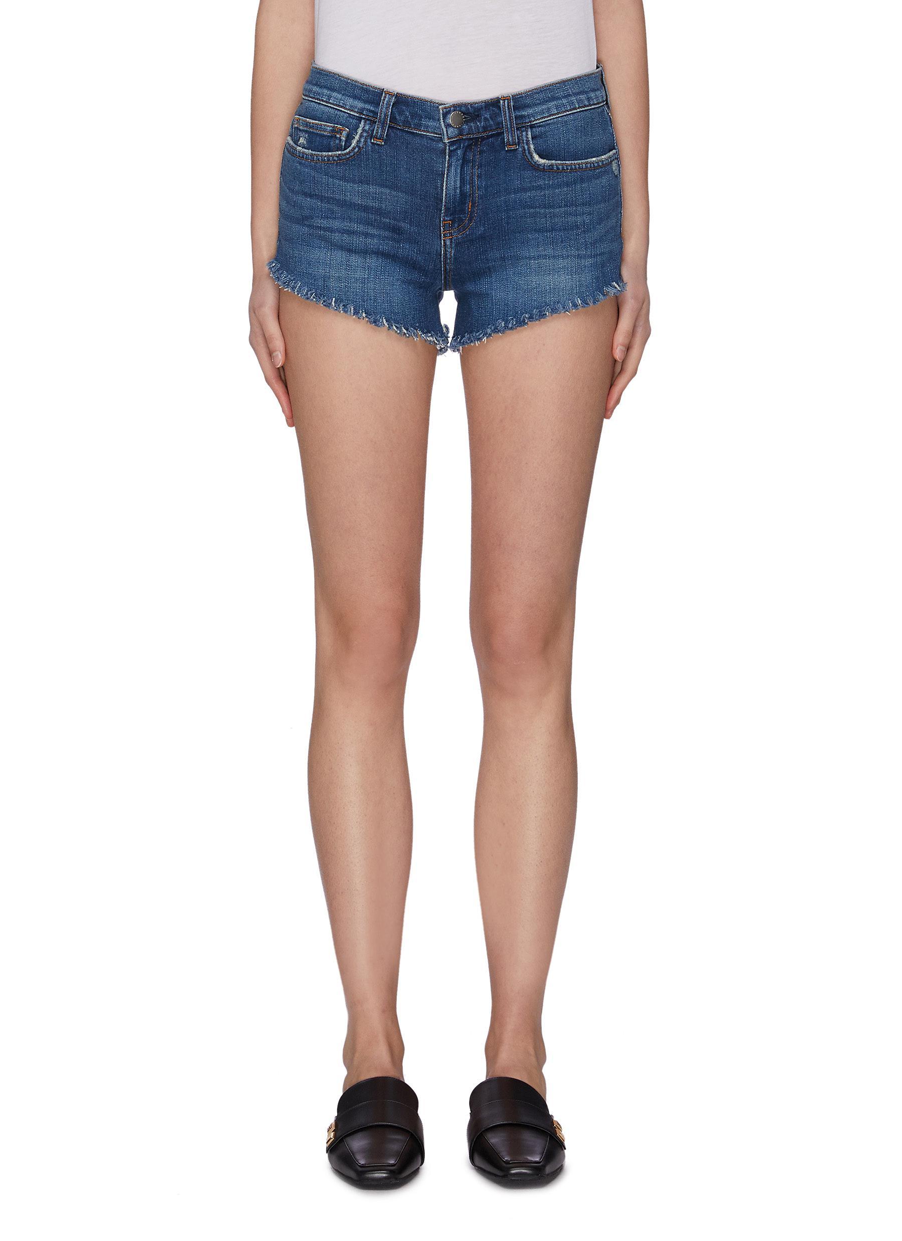 shop L'Agence 'Zoe' perfect fit frayed braided hem denim shorts online