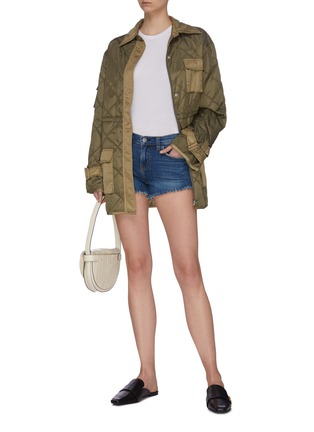 Figure View - Click To Enlarge - L'AGENCE - 'Zoe' perfect fit frayed braided hem denim shorts