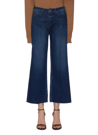 Main View - Click To Enlarge - L'AGENCE - 'Danica' dark wash whiskering wide leg jeans