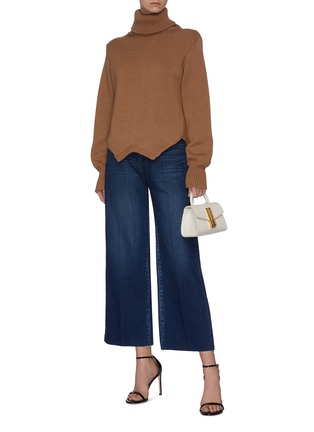 Figure View - Click To Enlarge - L'AGENCE - 'Danica' dark wash whiskering wide leg jeans