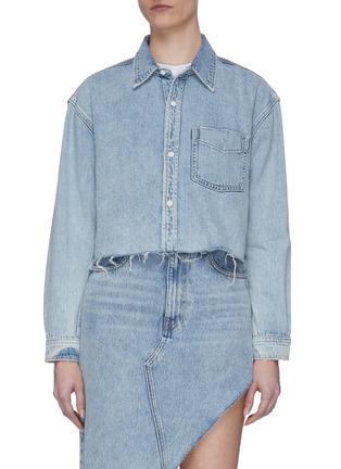 Main View - Click To Enlarge - GRLFRND - 'Christy' Frayed Hem Crop Denim Jacket