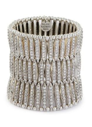 Main View - Click To Enlarge - PHILIPPE AUDIBERT - 'Almond' Swarovski crystal three row elastic bracelet