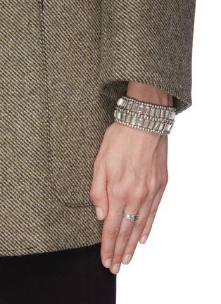 Figure View - Click To Enlarge - PHILIPPE AUDIBERT - 'Titia' Swarovski crystal bead two row elastic bracelet