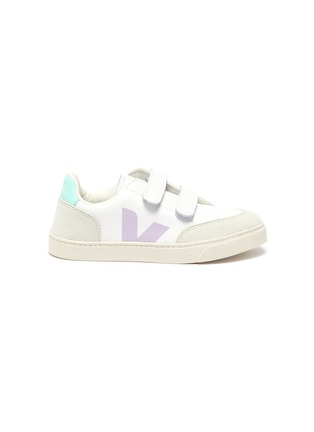 Main View - Click To Enlarge - VEJA - 'V-12' colourblock leather kids sneakers