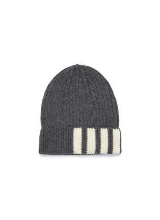 Main View - Click To Enlarge - THOM BROWNE - Contrast stripes ribbed cashmere beanie
