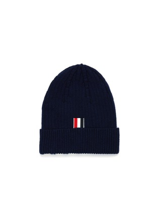Figure View - Click To Enlarge - THOM BROWNE - Contrast stripes ribbed cashmere beanie