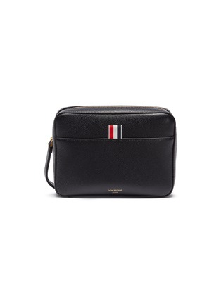 Main View - Click To Enlarge - THOM BROWNE - Wrist strap pebble grain leather dopp kit