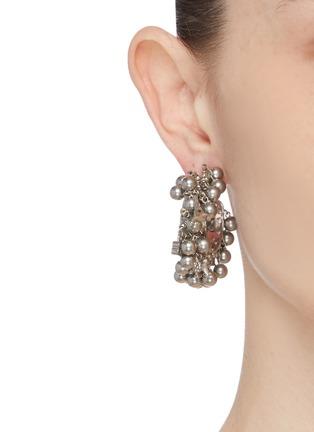 Figure View - Click To Enlarge - BALENCIAGA - Tassel bead hoop earrings