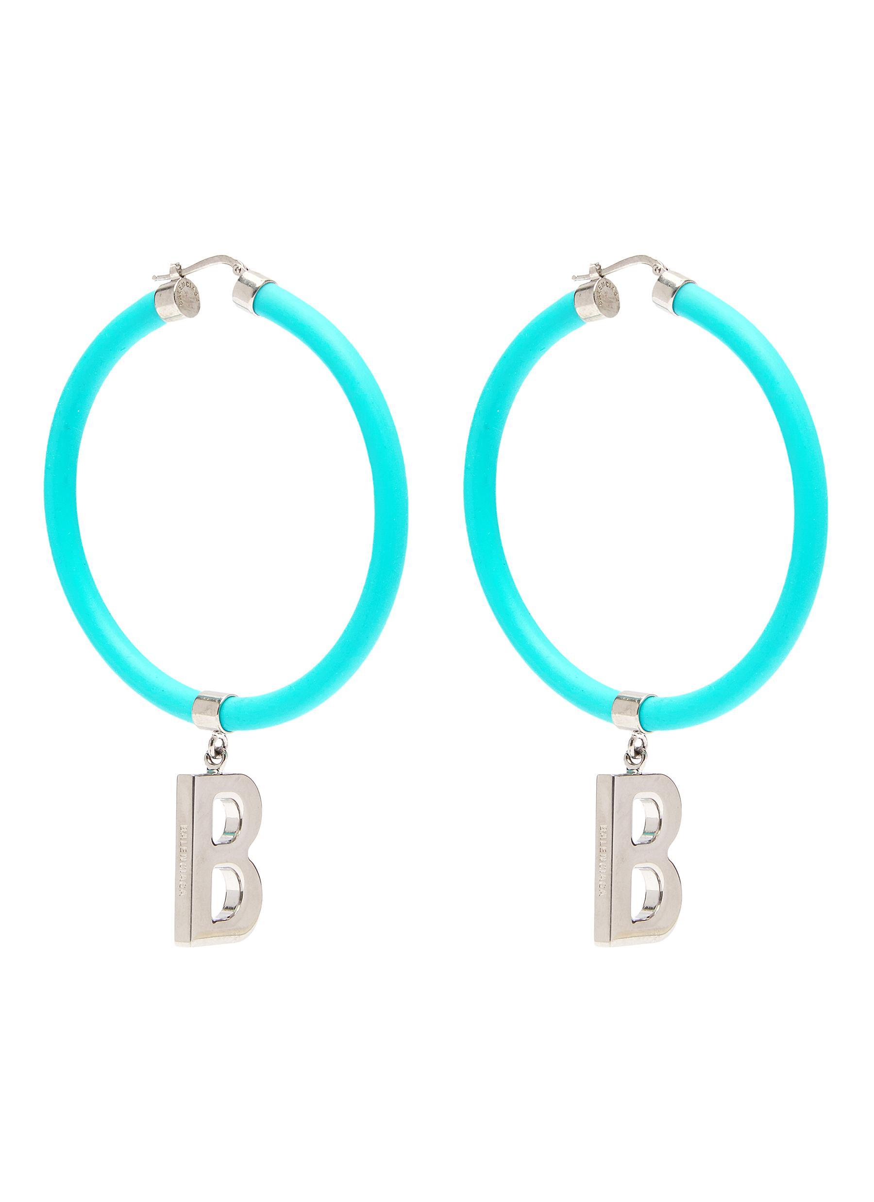 Balenciaga Elastic Band Earrings In Blue
