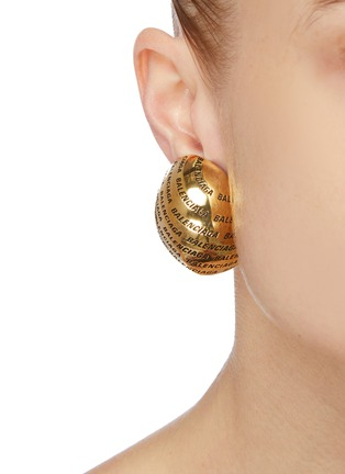 Figure View - Click To Enlarge - BALENCIAGA - 'Precious' logo engraved earrings