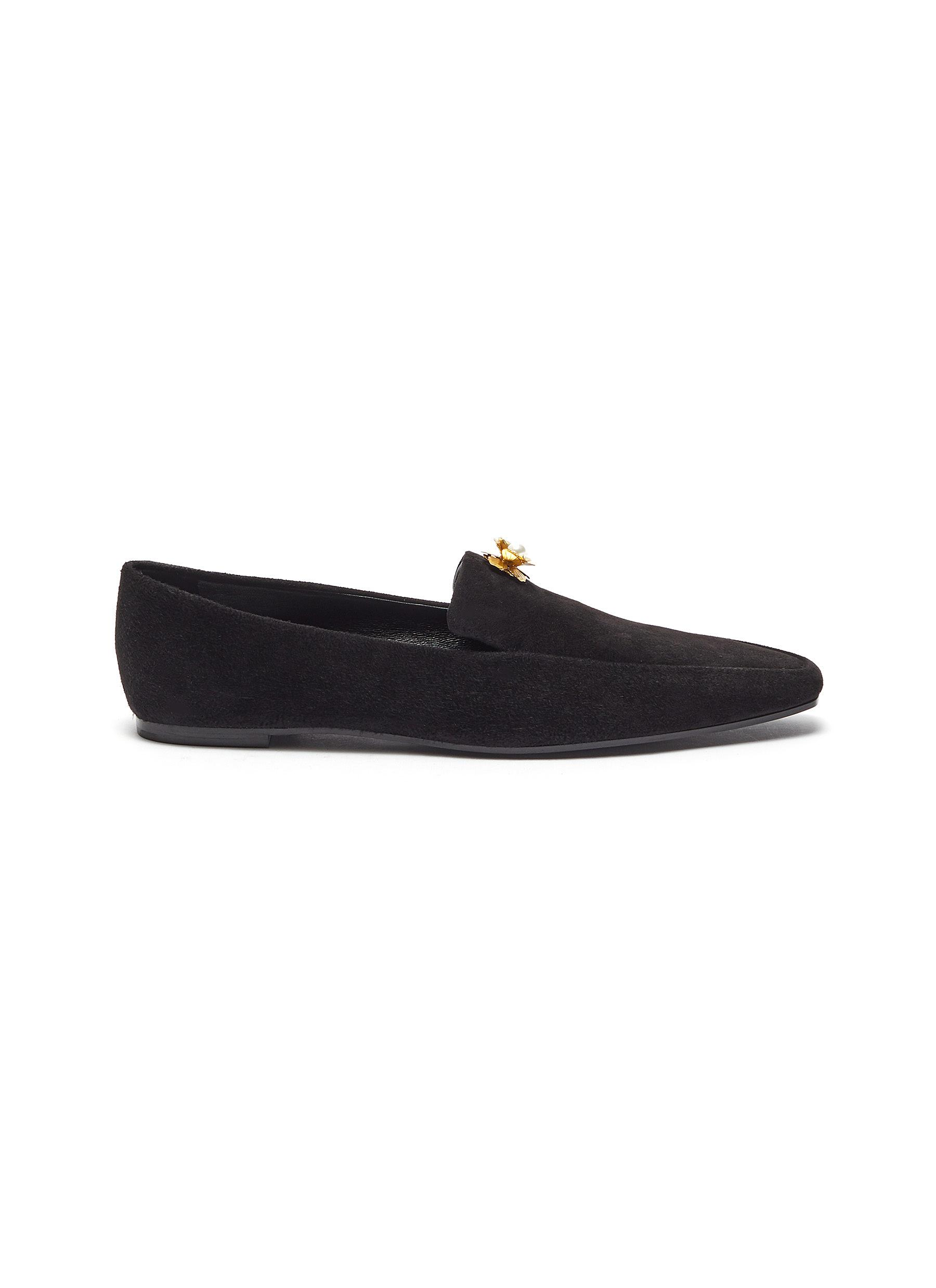 The Row Flats Minimal brooch pin suede loafers