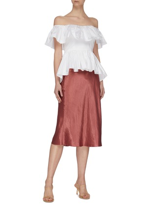 Figure View - Click To Enlarge - MING MA - Off shoulder ruffle peplum top