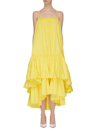 Main View - Click To Enlarge - MING MA - Asymmetric tier ruffle dress