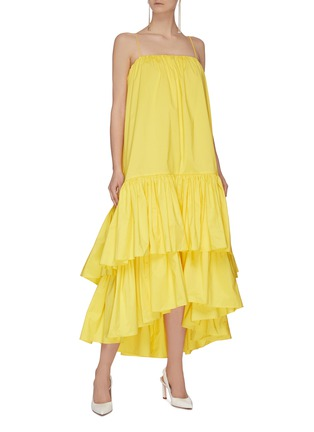 Figure View - Click To Enlarge - MING MA - Asymmetric tier ruffle dress