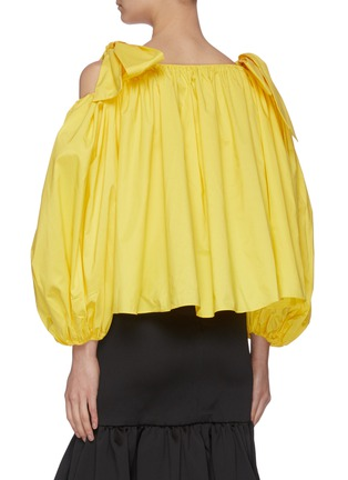 Back View - Click To Enlarge - MING MA - Tie shoulder lantern sleeve ruffle top