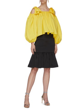 Figure View - Click To Enlarge - MING MA - Tie shoulder lantern sleeve ruffle top