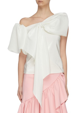 Main View - Click To Enlarge - MING MA - Asymmetric puff sleeve bow top