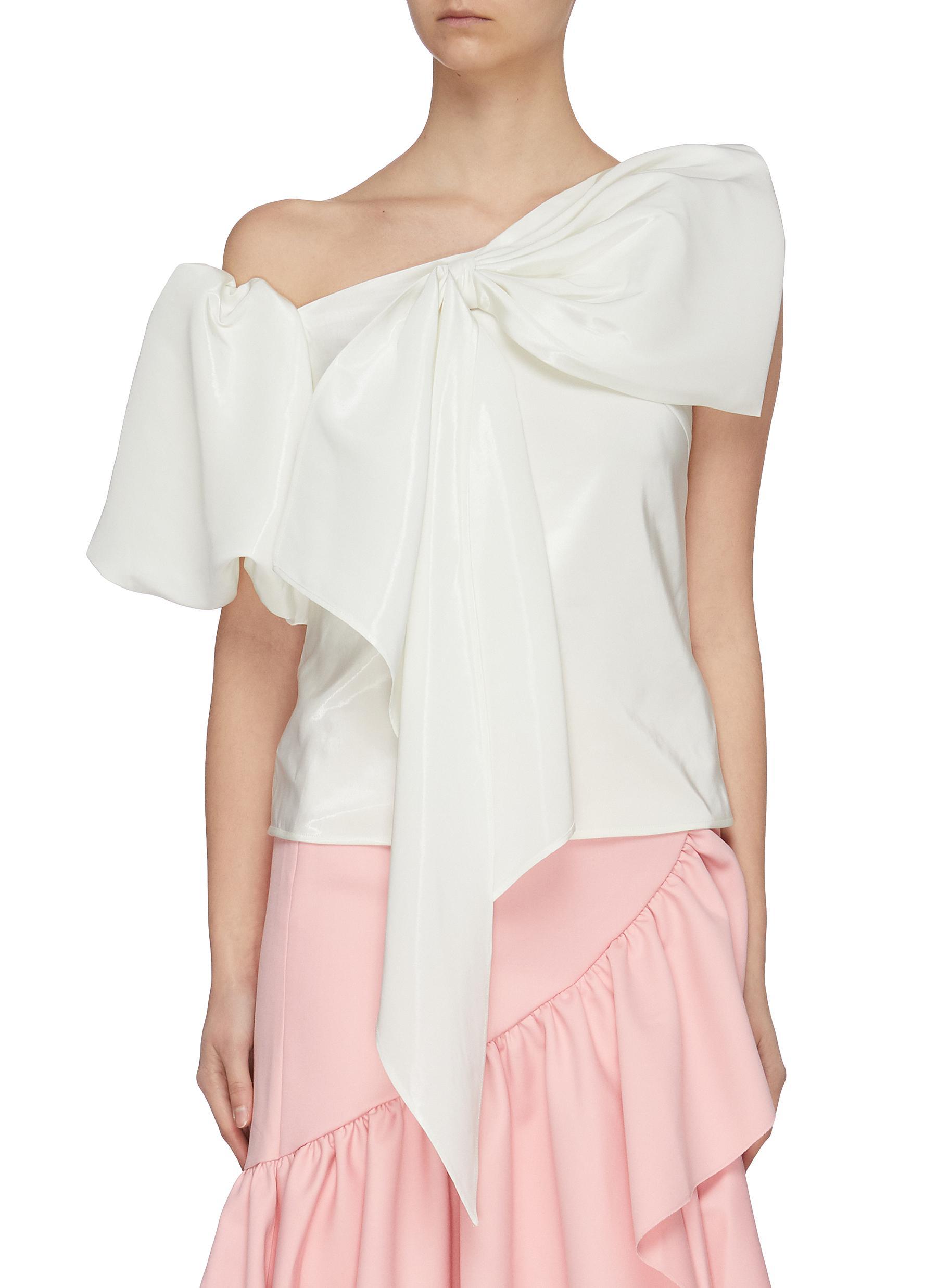 Buy Ming Ma Tops Asymmetric puff sleeve bow top