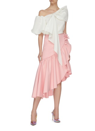 Figure View - Click To Enlarge - MING MA - Asymmetric puff sleeve bow top