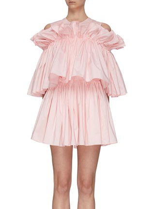 Main View - Click To Enlarge - MING MA - Cold Shoulder 3 Layer Ruffle Top