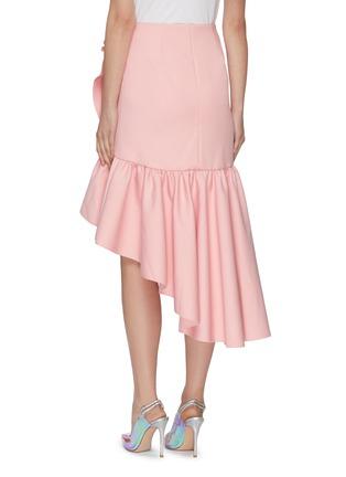 Back View - Click To Enlarge - MING MA - Asymmetric Ruffle Hem Midi Skirt