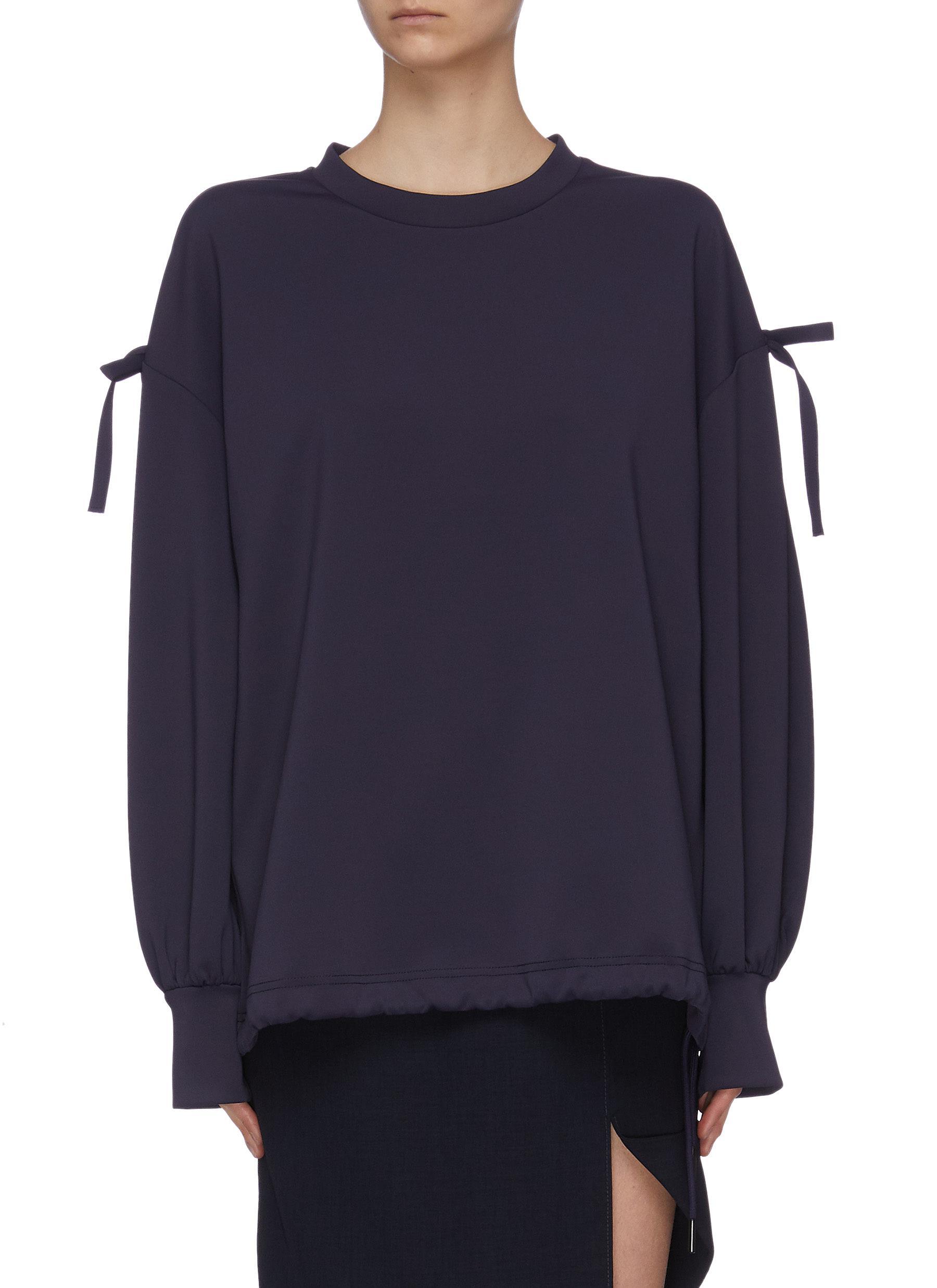 shop Ming Ma Ribbon embellished drawstring hem sweatshirt online