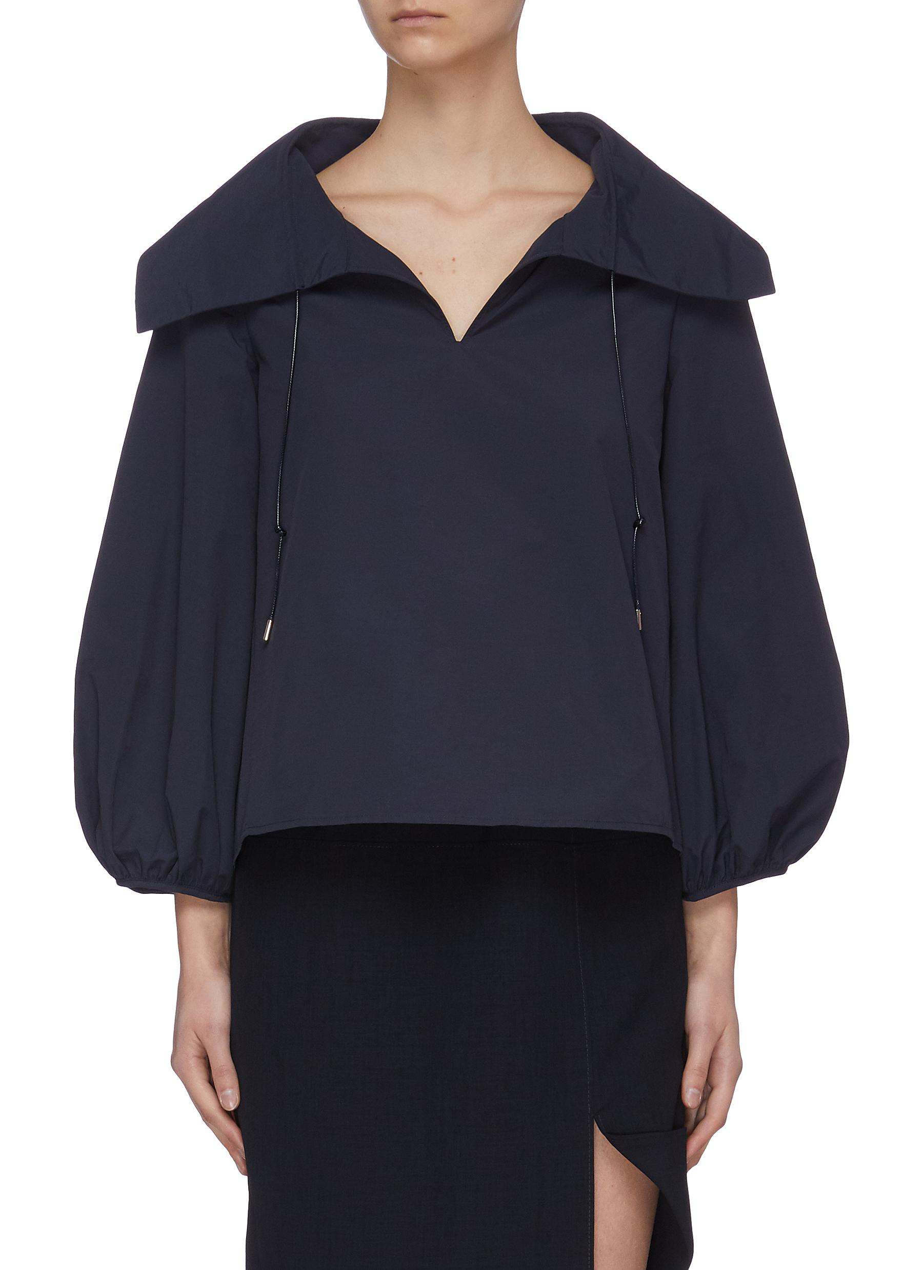 shop Ming Ma Puff sleeve oversize collar top online
