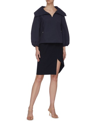 Figure View - Click To Enlarge - MING MA - Puff sleeve oversize collar top