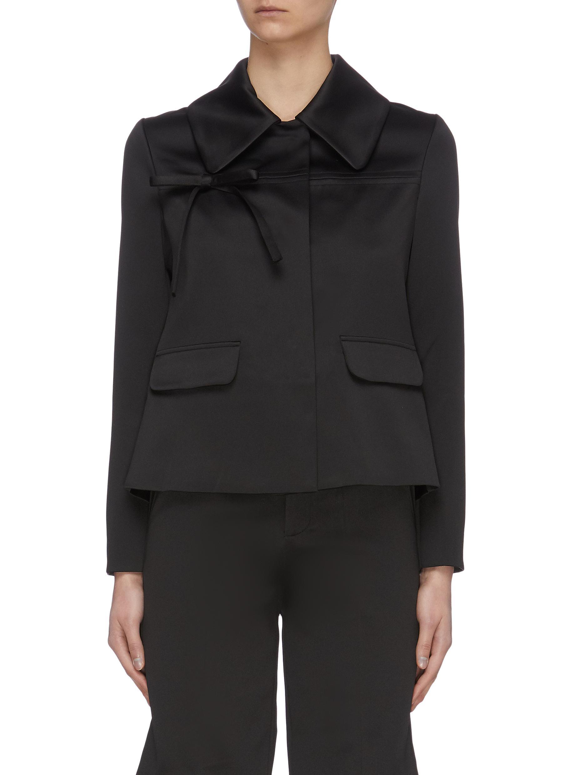 shop Ming Ma Ruffle Back Crop Jacket online