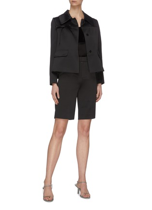 Figure View - Click To Enlarge - MING MA - Ruffle Back Crop Jacket