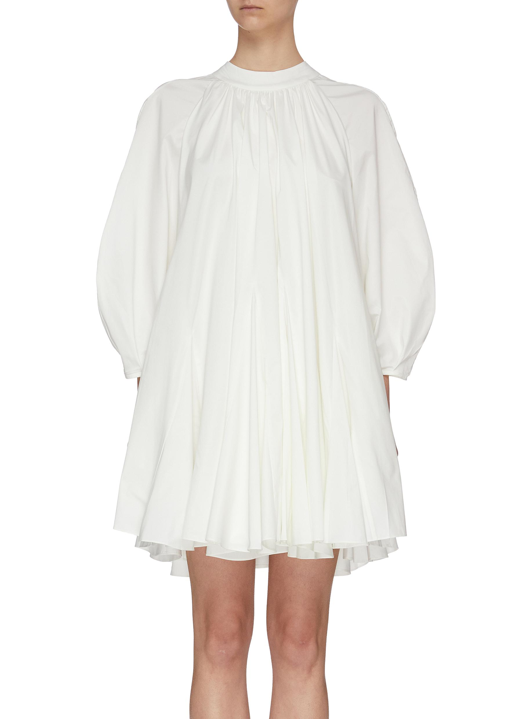 Buy Ming Ma Dresses Mock neck pleated balloon sleeve dress