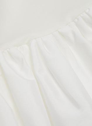 - MING MA - Asymmetric ruffle satin peplum T-shirt