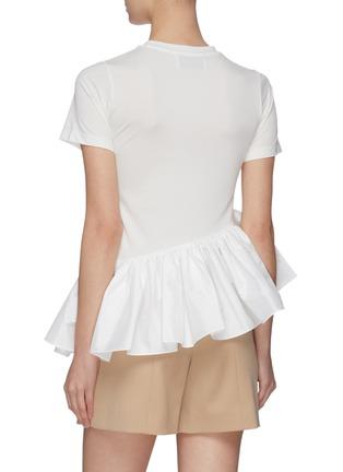 Back View - Click To Enlarge - MING MA - Asymmetric ruffle satin peplum T-shirt