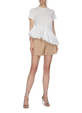 Figure View - Click To Enlarge - MING MA - Asymmetric ruffle satin peplum T-shirt