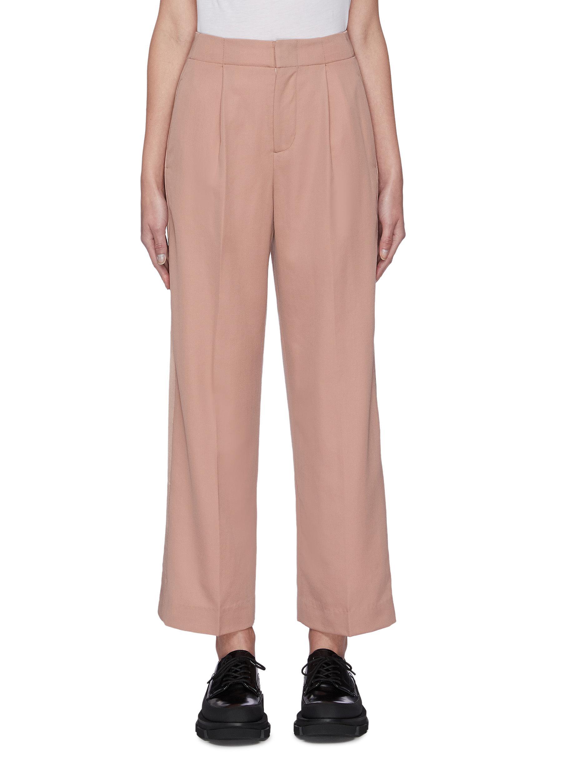 Buy Sans Titre Pants & Shorts Satin panel wide leg suiting pants
