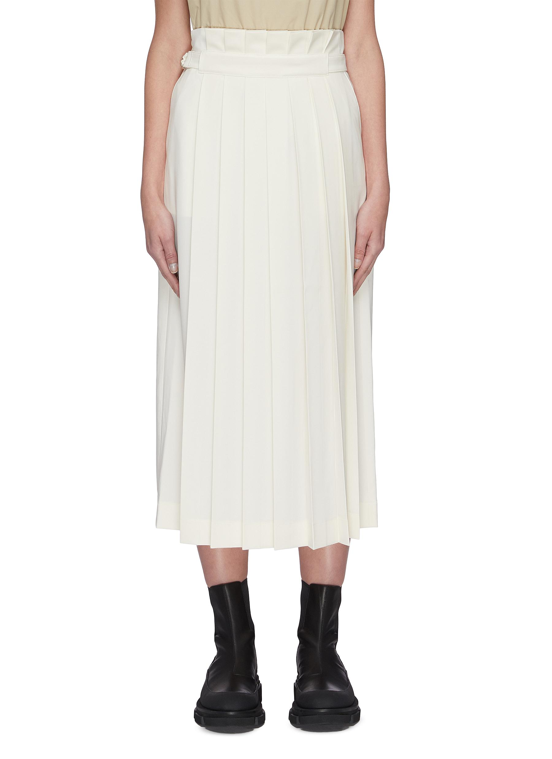shop Sans Titre Belted pleated skirt online