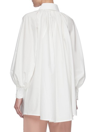Back View - Click To Enlarge - SANS TITRE - Pleated neck lantern sleeve blouse