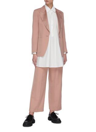 Figure View - Click To Enlarge - SANS TITRE - Pleated neck lantern sleeve blouse