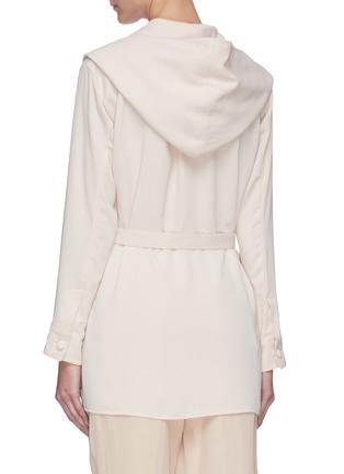Back View - Click To Enlarge - SANS TITRE - Hooded belted shirt jacket