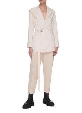 Figure View - Click To Enlarge - SANS TITRE - Hooded belted shirt jacket
