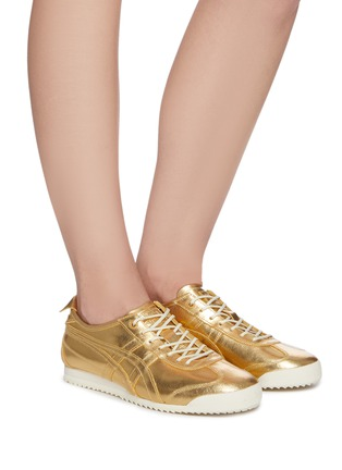 Figure View - Click To Enlarge - ONITSUKA TIGER - 'Mexico 66' lace up metallic leather sneakers