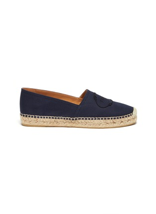 Main View - Click To Enlarge - PRADA - Logo embroidered espadrille slip-ons