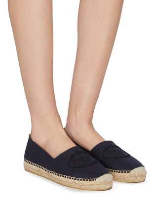 Figure View - Click To Enlarge - PRADA - Logo embroidered espadrille slip-ons