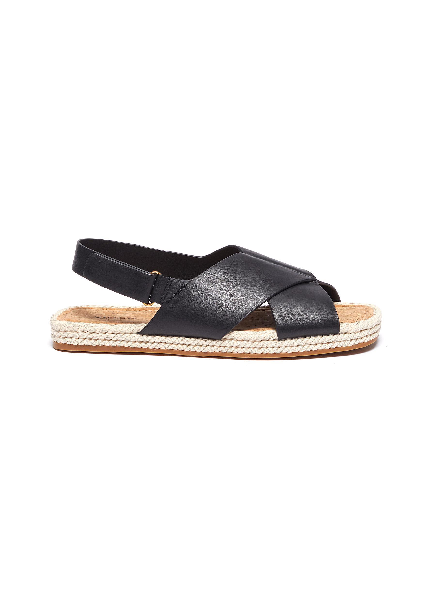 shop Vince 'Essen' cross strap slingback leather espadrille sandals online