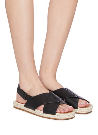 Figure View - Click To Enlarge - VINCE - 'Essen' cross strap slingback leather espadrille sandals