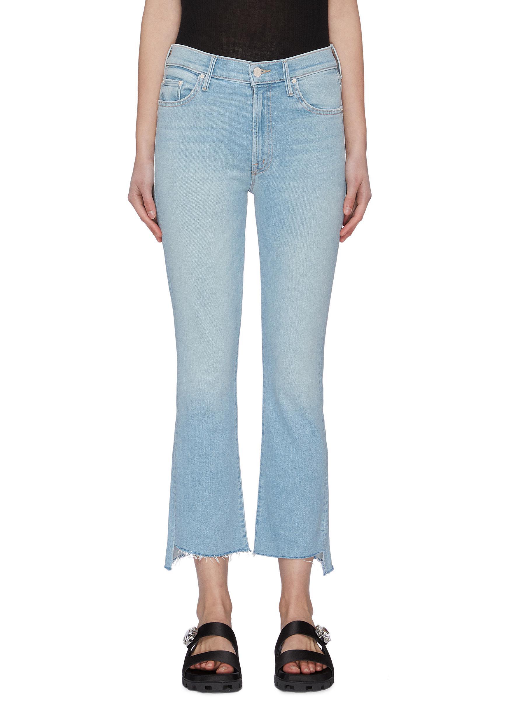 shop Mother 'The Insider' crop boot frayed hem jeans online