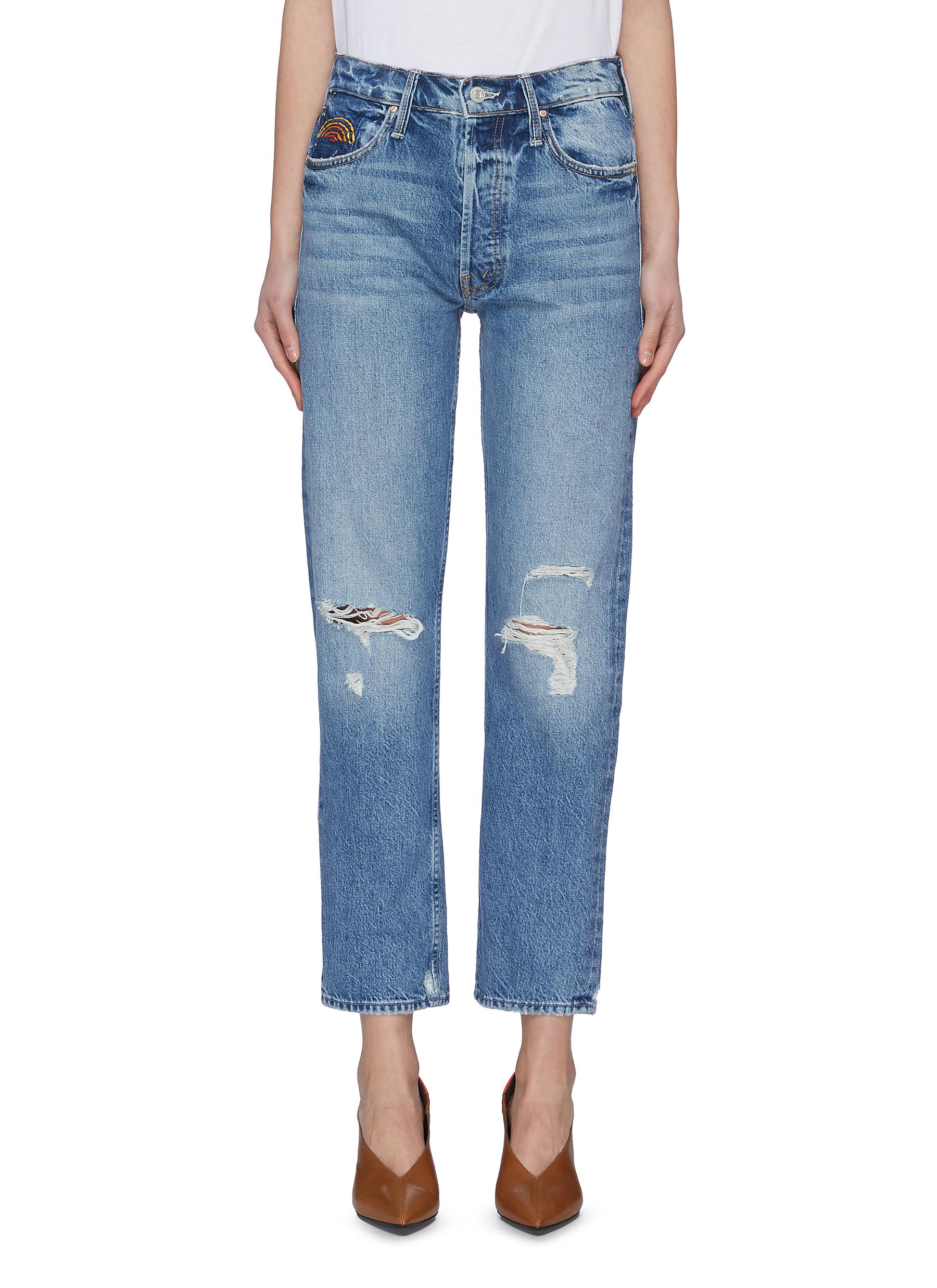 Buy Mother Jeans 'The Tomcat HR' colour topstitching pocket ripped knee jeans