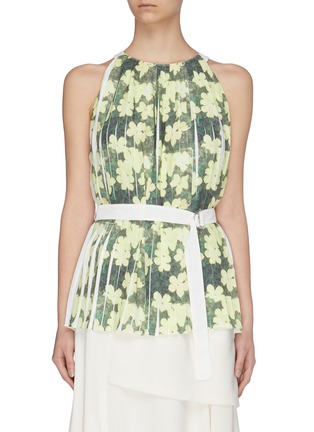 Main View - Click To Enlarge - 3.1 PHILLIP LIM - Floral print knife pleated belted tank top