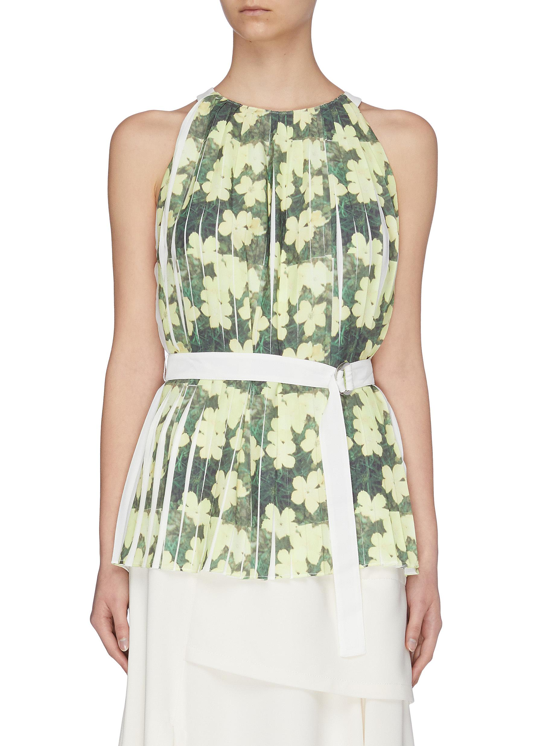 shop 3.1 Phillip Lim Floral print knife pleated belted tank top online