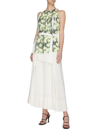 Figure View - Click To Enlarge - 3.1 PHILLIP LIM - Floral print knife pleated belted tank top